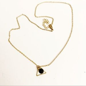 Jewelry - Gold and volcanic ash triangle sphere necklace